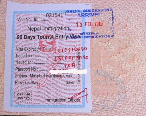 Tourist visa on arrival 90 days Nepal