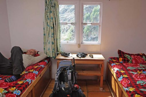 Our room with two single beds on EBC trek in Nepal