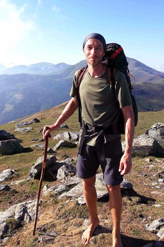 Camino De Santiago barefoot pilgrim