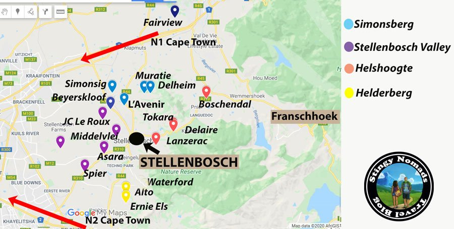 Stellenbosch Wine Route Map Stingy Nomads