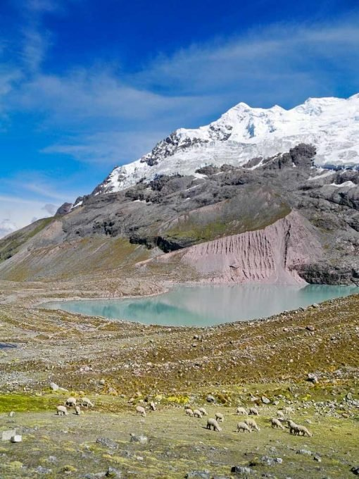 Beautiful Ausangate Lake and Glacier, one of the highlights of the trek