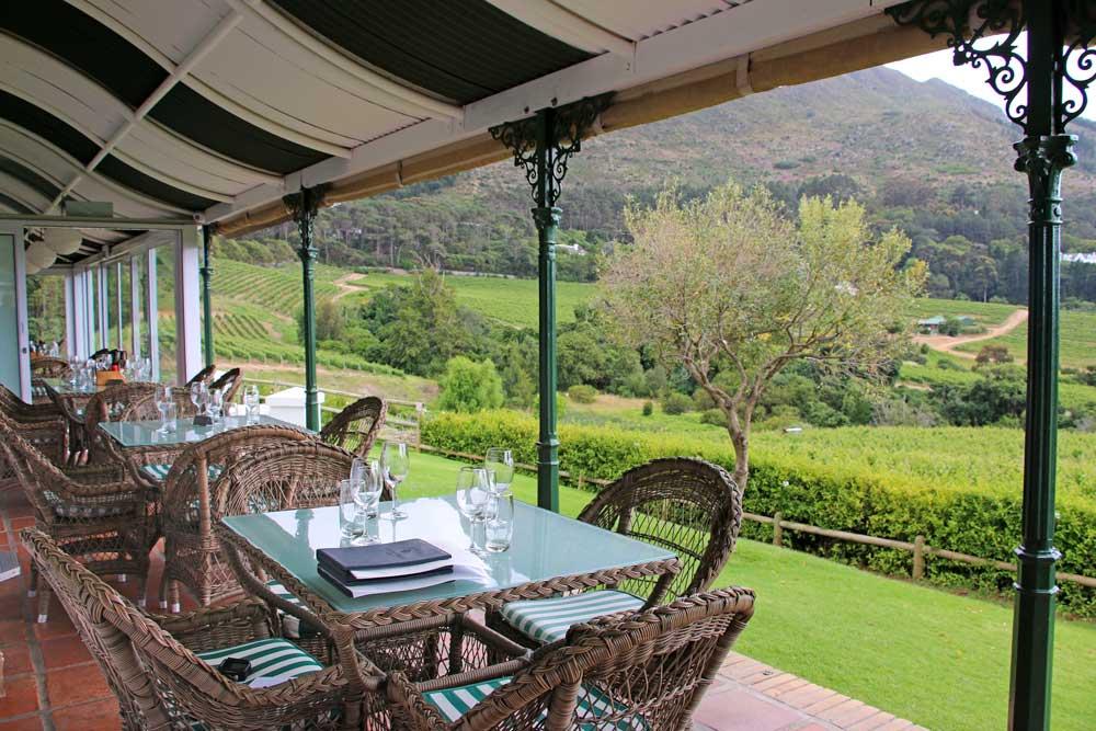 Summer terrace at Constantia Glen wine farm
