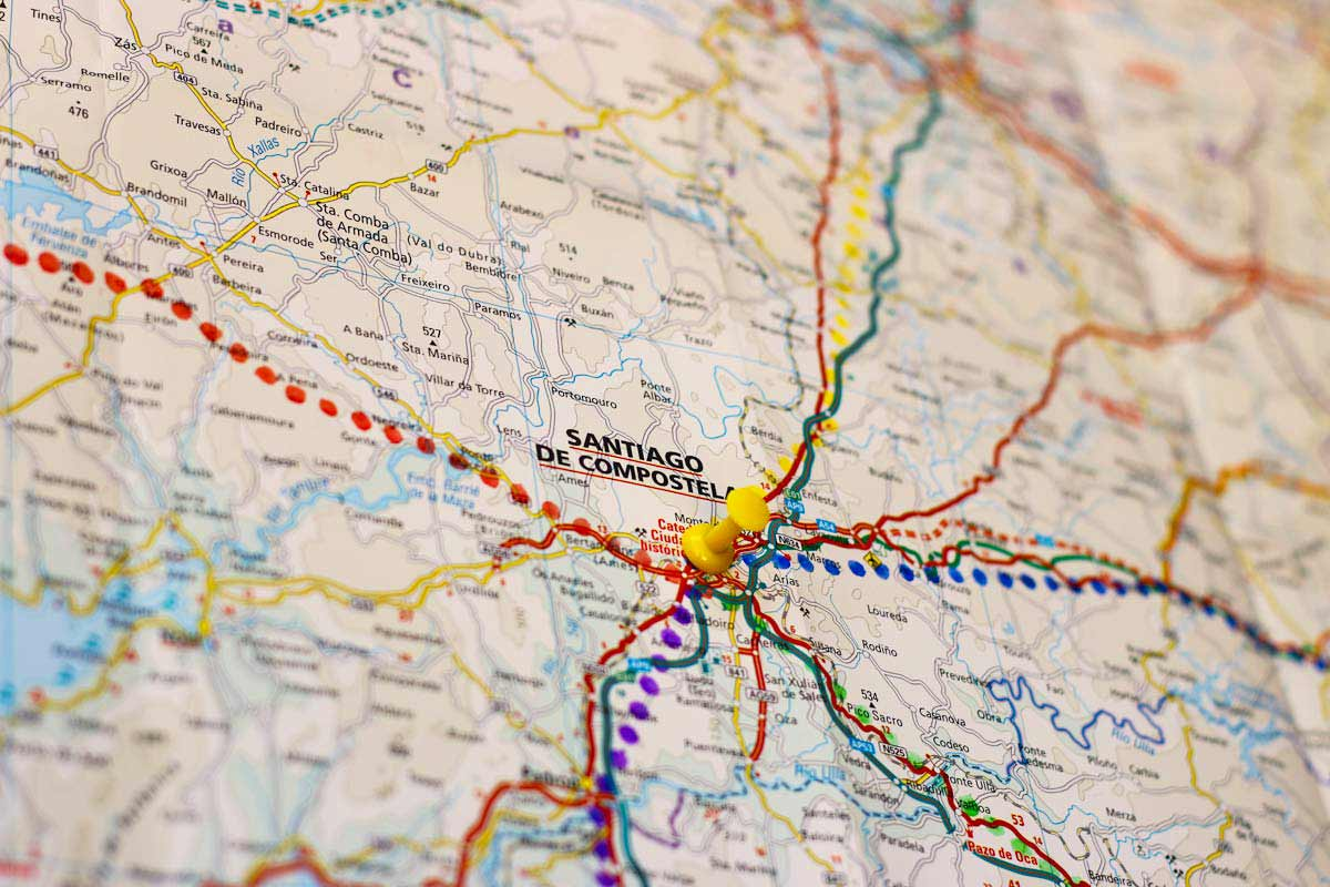 A map showing different Camino routes in Spain