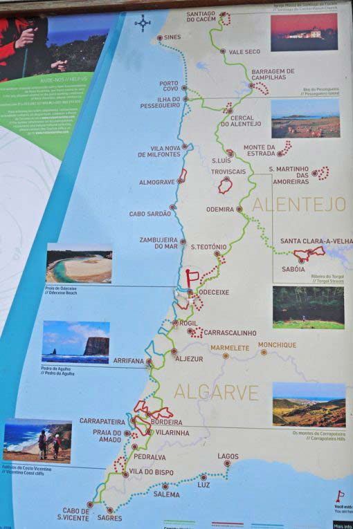 A trail map of the Rota Vicentina