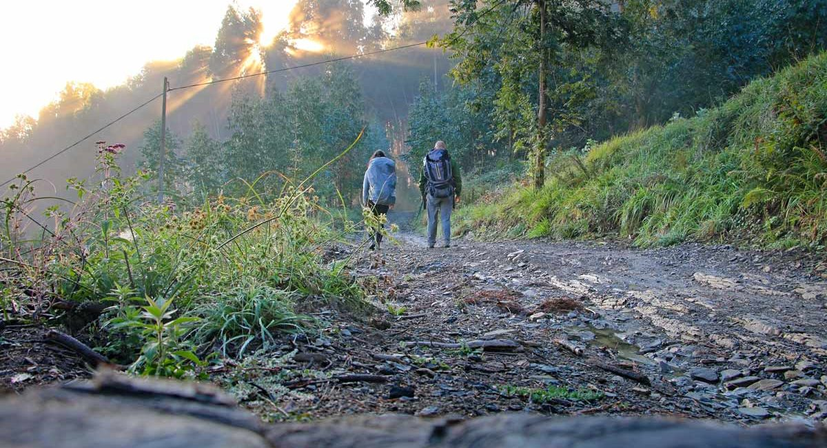 Cambell & Alya on the Camino del Norte walking to Santiago