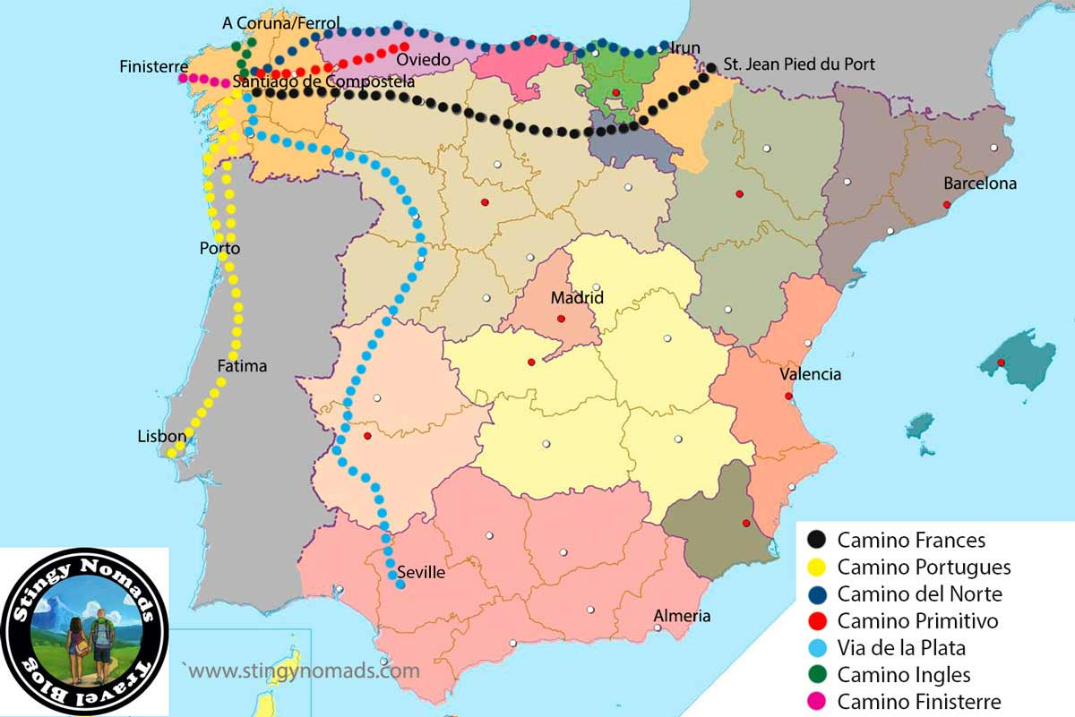 Camino de Santiago walking routes in Spain and Portugal