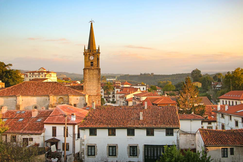 A sunset view of the historical center of Comillas, Northern Way