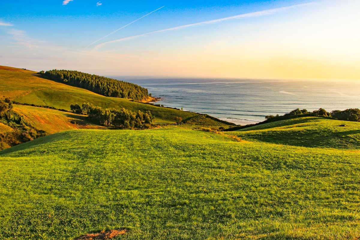Beautiful morning scenery of the Asturian coast in Northern Spain