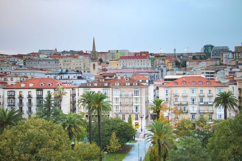 The modern center of Santander, Spain