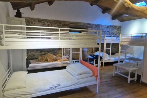 A dormitory in a private albergue with 4 bunk beds
