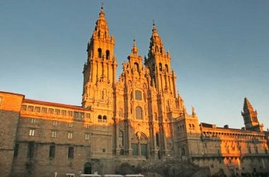 The beautiful Cathedral in Santiago lightened by the sunset