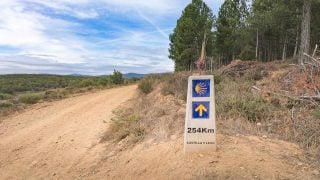 A pole marking the route and the distance (254 km) to Santiago on the French Camino