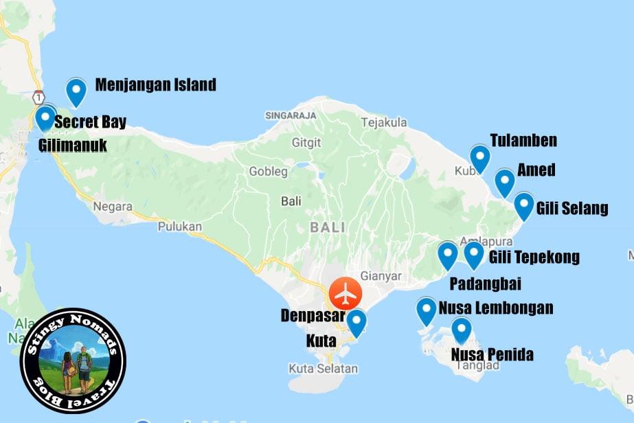 Dive Bali Map