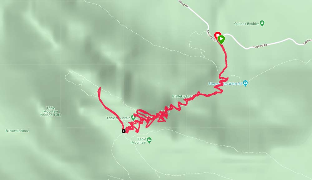 A route map of the Platteklip Gorge trail up Table Mountain