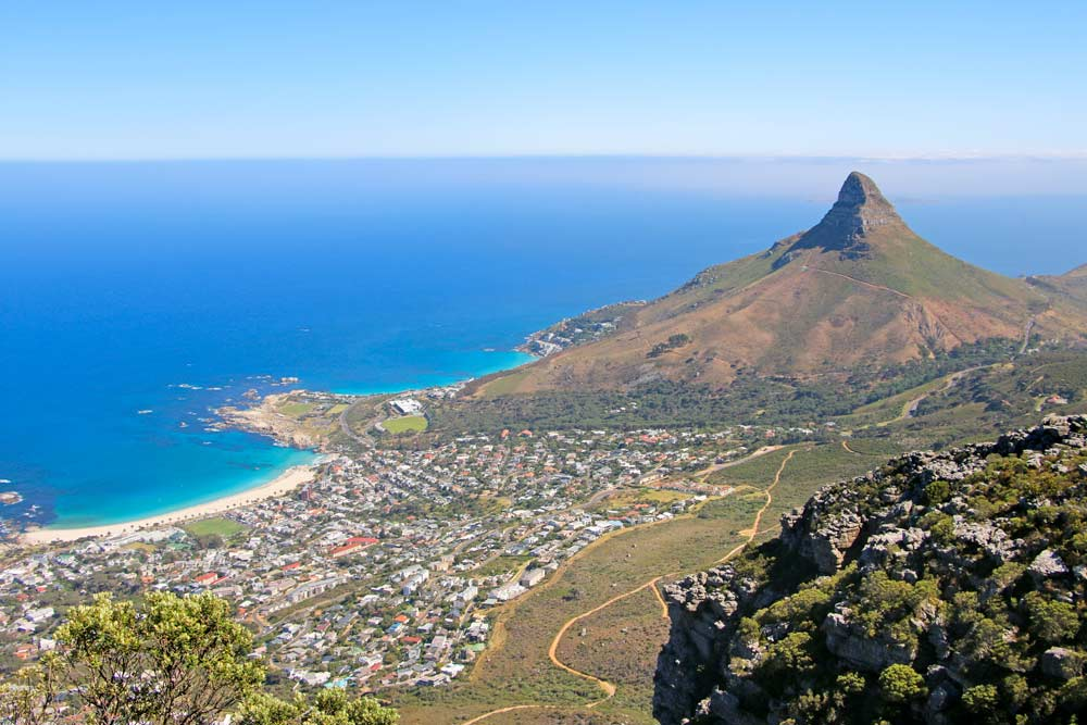 Breathtaking view of Camps Bay and the coast from the hiking trail up Table Mountain