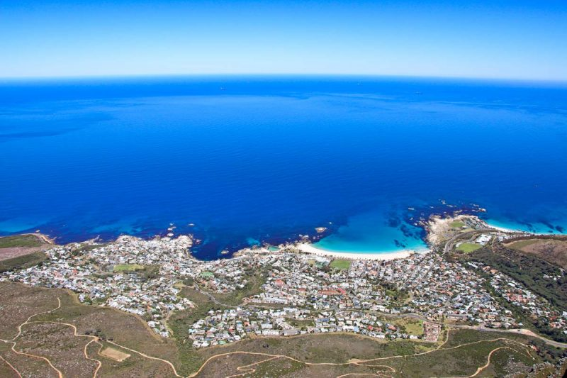 A stunning view of the Atlantic Ocean and Cape Town beaches from Table Mountain