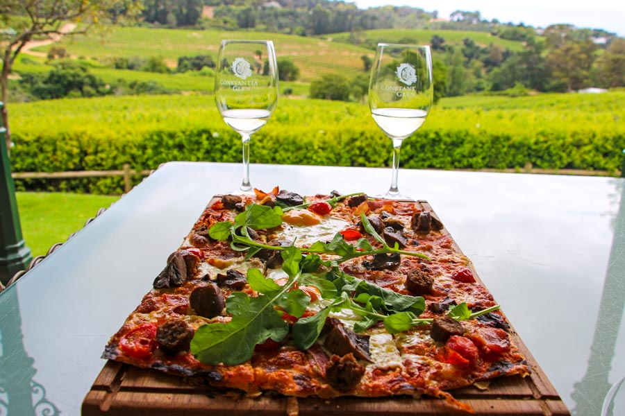 Constantia Glen - tasting wine and eating a delicious Flamkuchen at the beautiful farm.