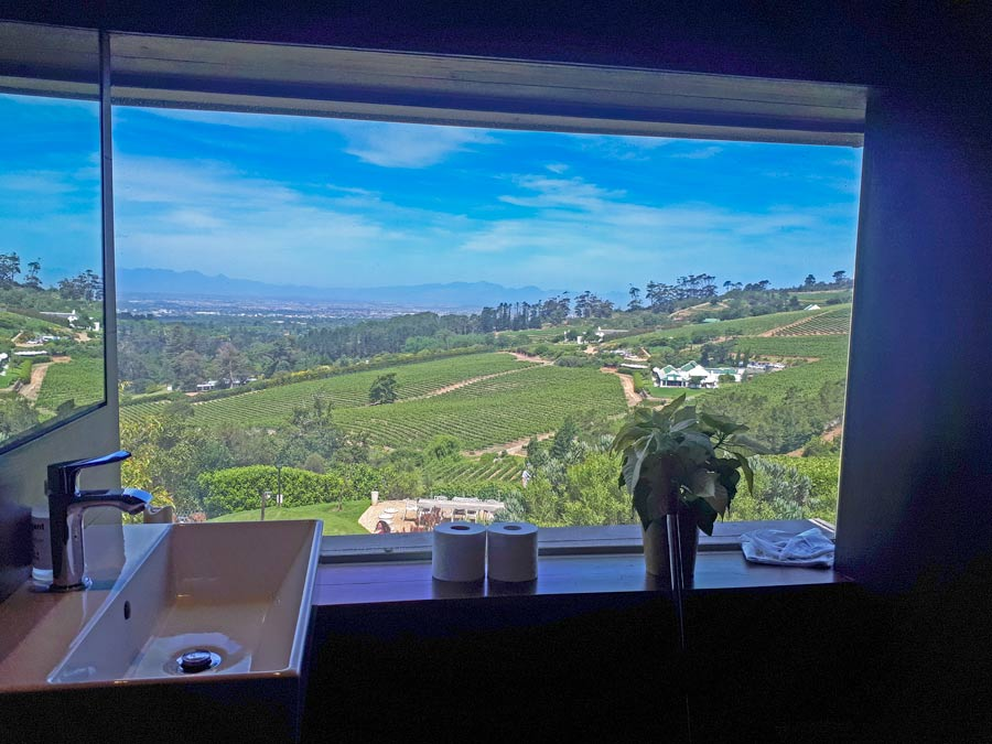Awesome view over the vineyards from the 'Loo with a view' at Beau Constantia