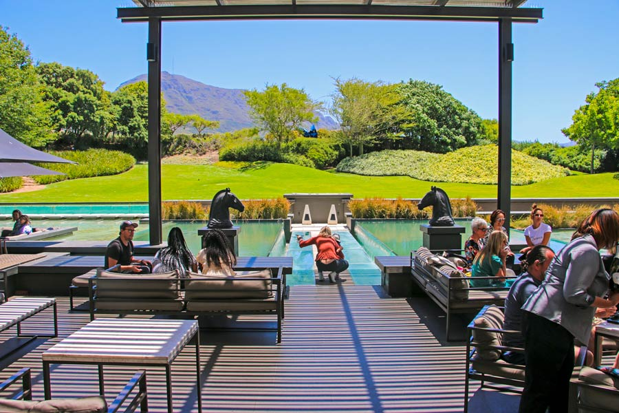 The terrace outside at the stylish Steenberg tasting venue in Constantia.