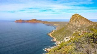 Stunning view of Cape Point peninsula from one of the hills on the Cape of Good Hope hike
