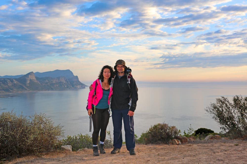 Campbell and Ala at the sunrise on a 2-day hike around Cape Point