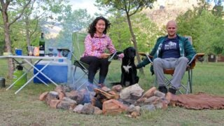 Stingy Nomads and their dog at Beaverlac campsite near Cape Town