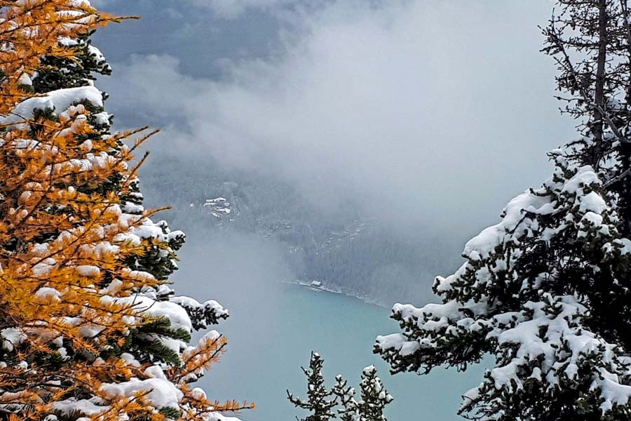 views of Lake Louise hiking in fall