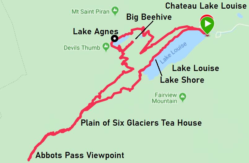 Lake Louise hiking map