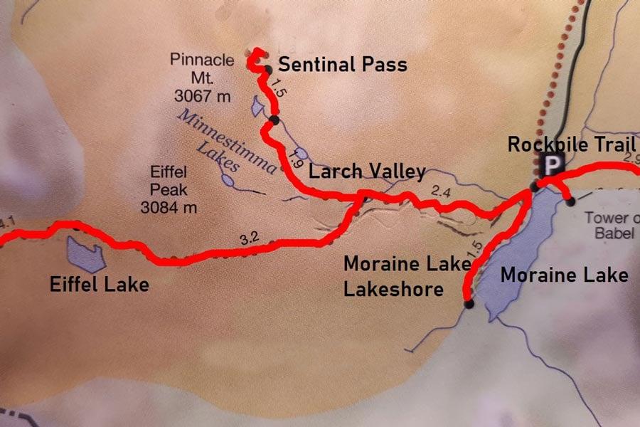 Hiking moraine lake map near Banff