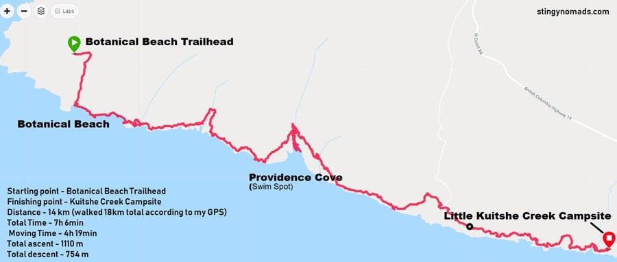 Juan de Fuca marine trail day 1 map