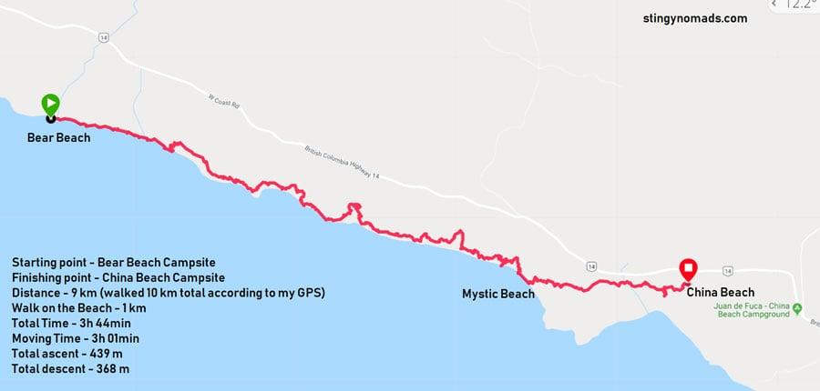Juan de Fuca trail map day 4