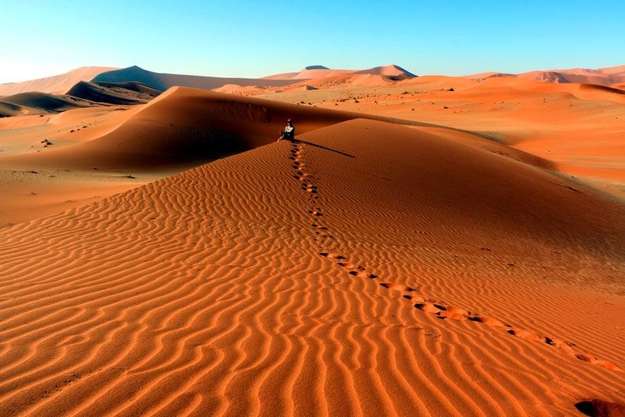 walking over the dunes at Sossusvlei